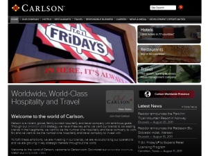 Screenshot of old Carlson homepage, featuring TGI Fridays property.