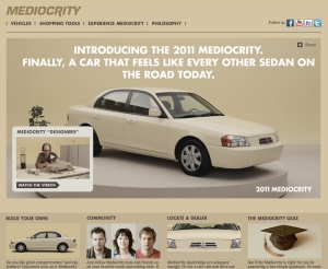 Screenshot of the Subaru Mediocrity parody site.