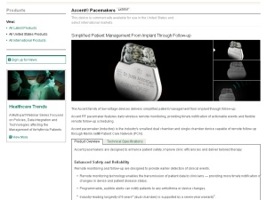 Screenshot of St. Jude website focusing on their pacemakers.